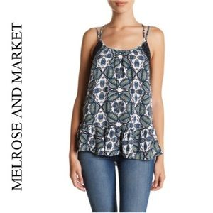 Melrose and Market Printed Lace Trim Strappy Tank